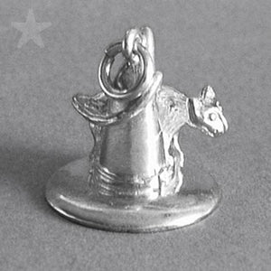 Cat on Witch Hat Charm Sterling Silver or Gold