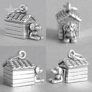 Dog in kennel charm 925 sterling silver pendant
