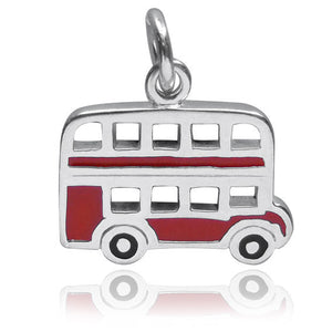 Sterling Silver London Bus Charm with Red Enamel
