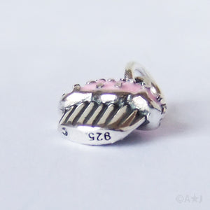Iced cupcake muffin charm sterling silver pink enamel
