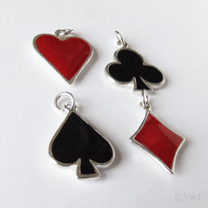 Sterling Silver Playing Card Heart Club Diamond Spade Charm