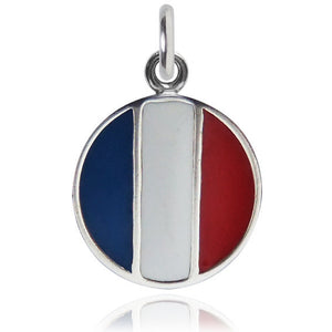 France Flag Charm Sterling Silver Country Pendant | Charmarama