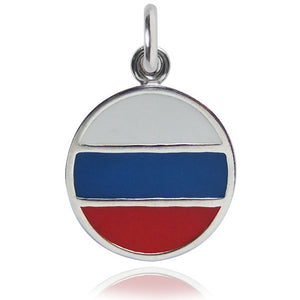 Russia  Flag Charm Sterling Silver Country Pendant | Charmarama