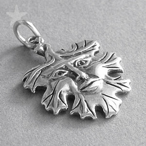 Sterling Silver Green Man Face in Leaf Charm