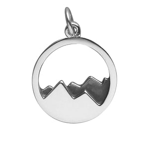 Mountains Charm Sterling Silver Mountain Scene Pendant | Charmarama