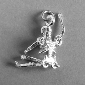 Moving Skeleton Charm in Sterling Silver or Gold