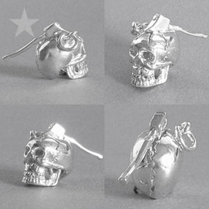 Human Skull with Moving Axe Charm Pendant