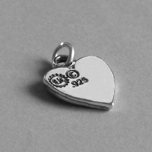 Sterling Silver Heart with Baby Feet Charm
