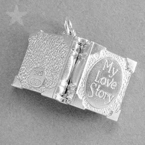Sterling Silver Enamel Opening My Love Story Book Charm Pendant