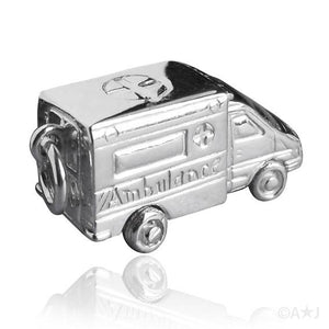 Ambulance Charm Sterling Silver or Gold Hospital Pendant | Silver Star Charms