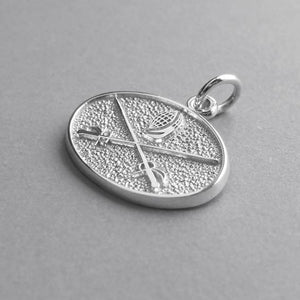 Sword fencing charm 925 sterling silver or gold pendant
