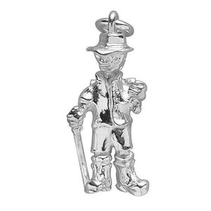 Man hiking charm sterling silver or gold pendant | Silver Star Charms