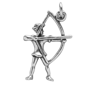 Archer Bow and Arrow Charm Sterling Silver Archery Pendant | Charmarama