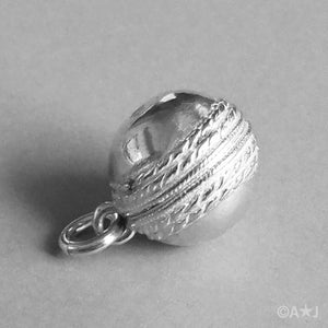 Cricket Ball Charm in Sterling Silver or Gold
