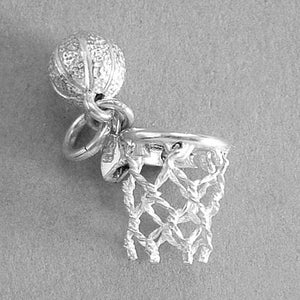 Basketball and Net Charm in Sterling Silver or Gold