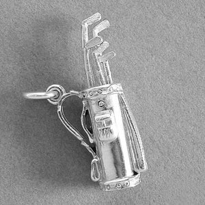 Golf Bag with Moving Clubs Pendant in Sterling Silver or Gold