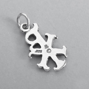 Greek Chi-Rho Symbol Charm Pendant in Sterling Silver
