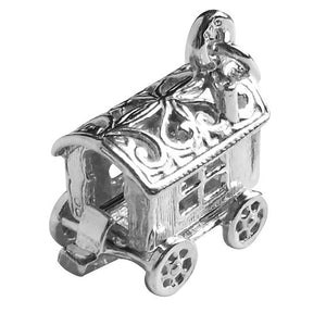 Gypsy Romany Fortune Teller Wagon Charm Sterling Silver or Gold