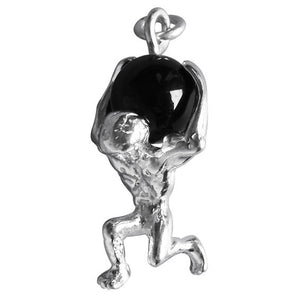 Atlas Greek God with Onyx Charm in Sterling Silver or Gold