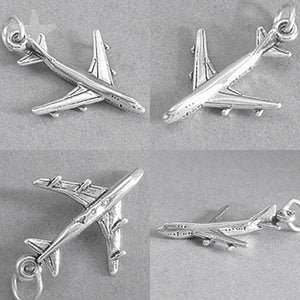 Jet aeroplane aircraft charm 925 silver sterling pendant