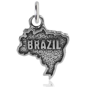Sterling Silver Map of Brazil Charm