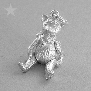 Moving Teddy Bear Pendant Sterling Silver or Gold