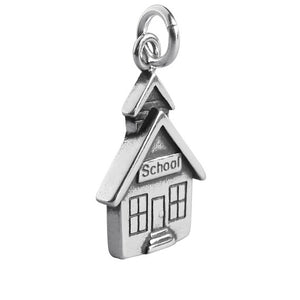School House Charm in 925 Sterling Silver Pendant | Charmarama