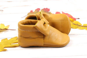 Bow Moccasins Mustard Yellow