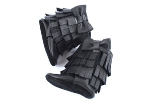 Three Layer Bow Boots Black