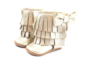 Three Layer Bow Boots Platinum