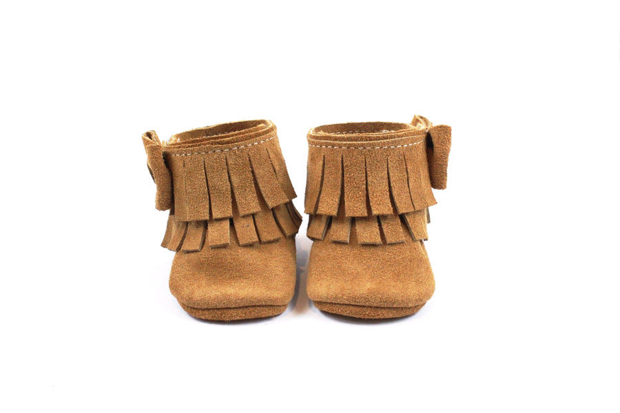 Ankle Bow Boots Caramel Suede