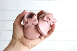 Newborn Bow Moccasin Light Pink