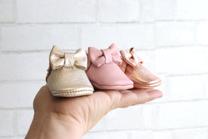 Newborn Bow Moccasin Rose Gold