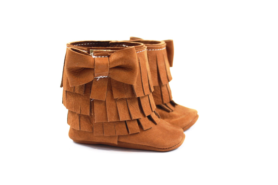 Three Layer Bow Boots Rust