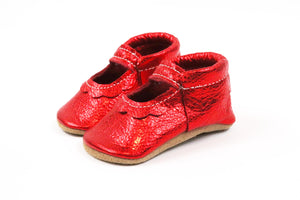 Bowless Mary Jane Red Metallic