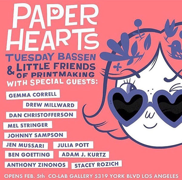Paper Hearts Art Show by Tuesday Bassen