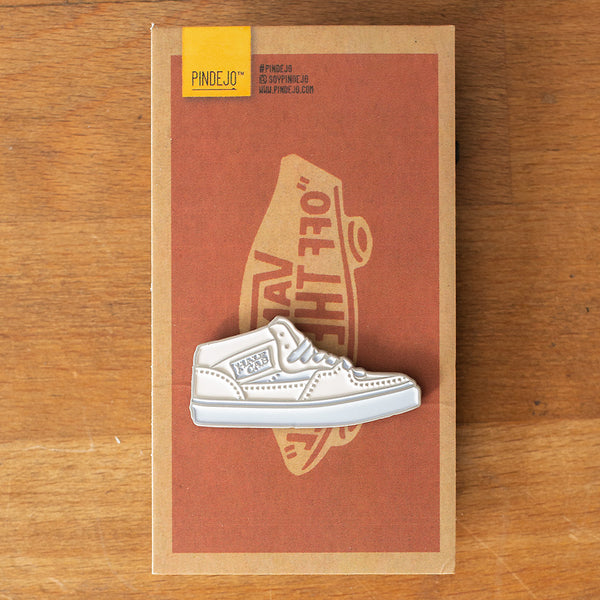 The Half Cab Shoe Enamel Pin in White