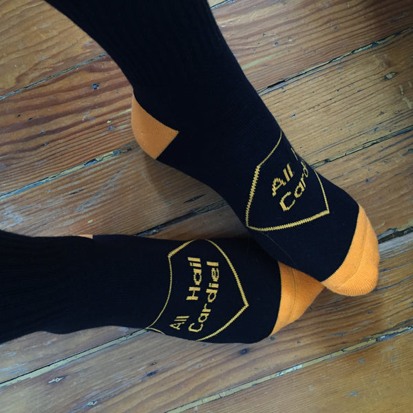 All Hail Cardiel Black / Orange Calf Socks