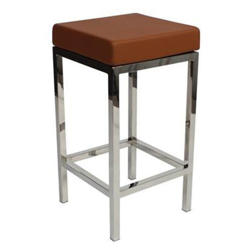 Farrah Polished Stainless Steel Leg Bar Stool 68cm Tan