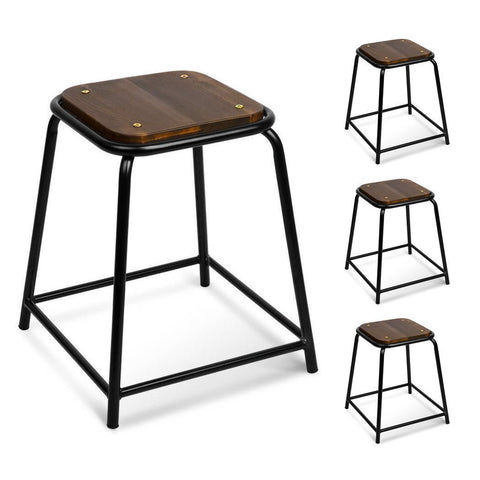 Harlow Wooden Seat Stool 48.5cm (Set Of 4)