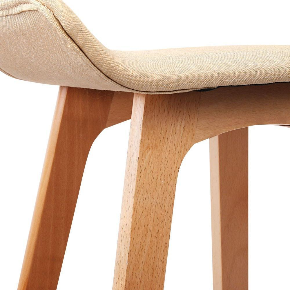 Beech Bar Stool Set Of 2 Beige
