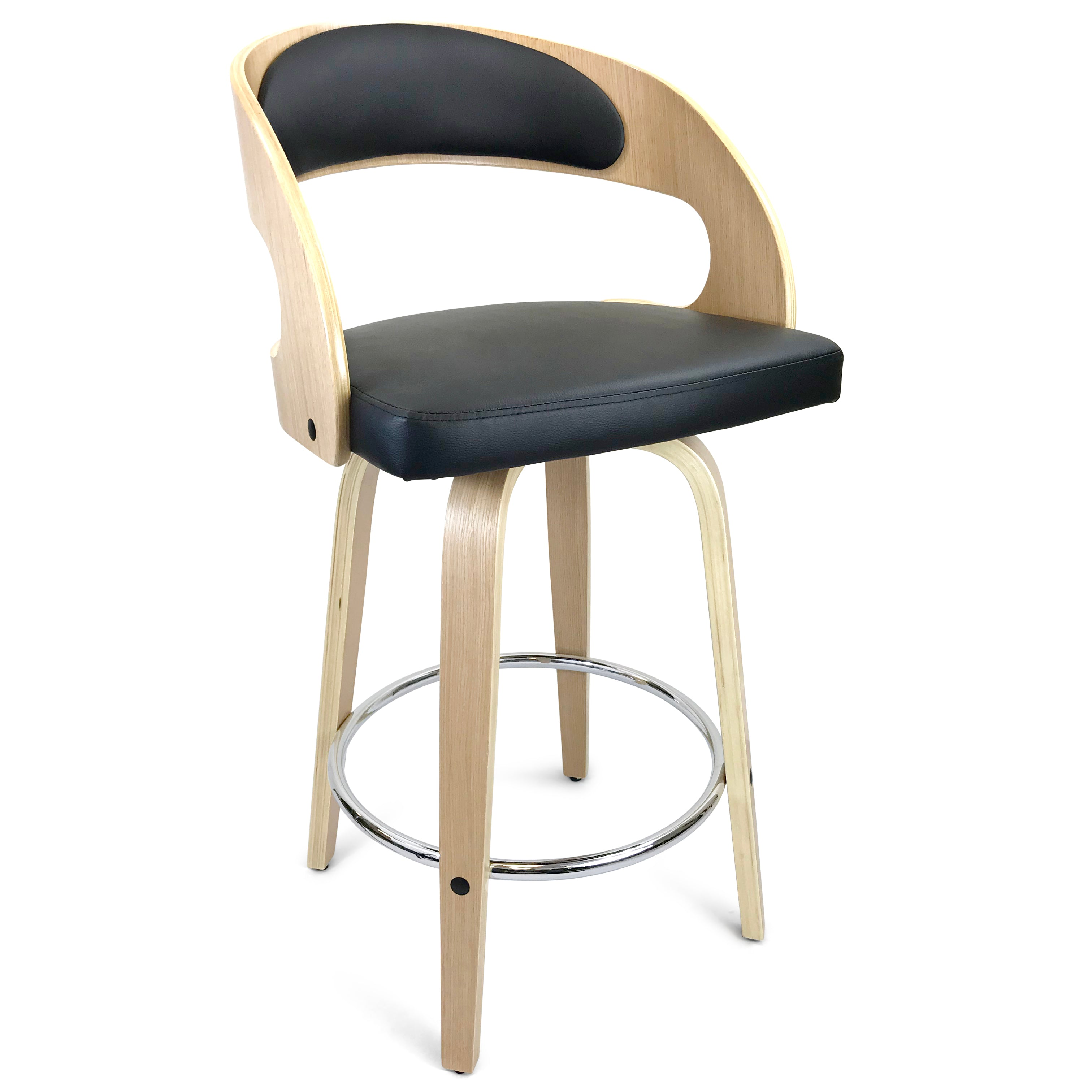Pleasing Amy Leatherette Kitchen Bar Stool In Oak Black Ocoug Best Dining Table And Chair Ideas Images Ocougorg