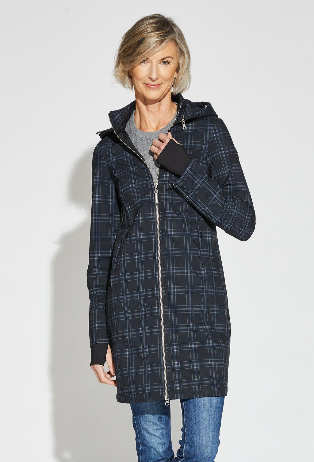 Black/Plaid - Deb is 5'10, dress size 6. Wearing S