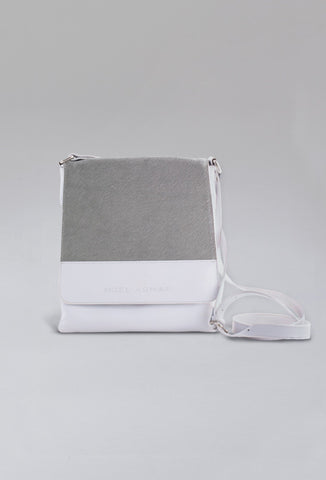 Leather Messenger Bag White With Grey Calf Hair
