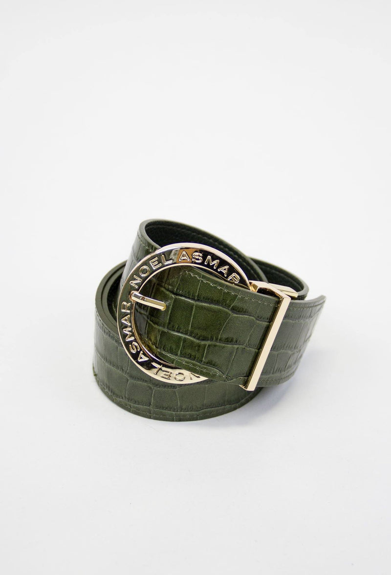 Asmar Leather Crocodile Belt (Gold Accents)