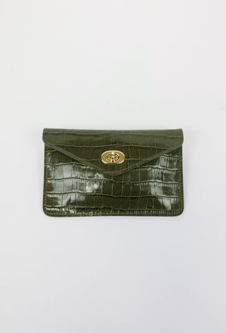 Asmar Crocodile Belt Purse (Chrome Accents)