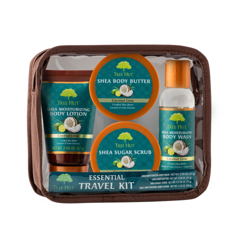 TREE HUT ESSENTIAL TRAVEL KIT COCONUT LIME (2OZ EACH BB-LOTION-SCRUB-WASH)