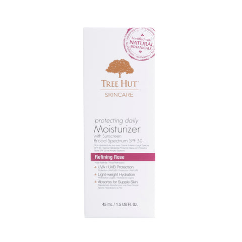 TREE HUT SKINCARE PROTECTING DAILY MOISTURIZER WITH SUNSCREEN BROAD SPECTRUM SPF-30 REFINING ROSE OTC