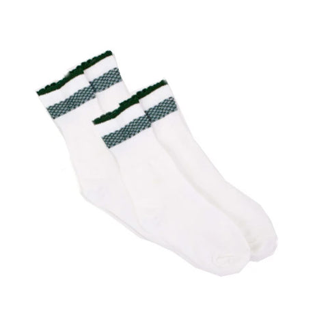 White Socks with Leaf Print