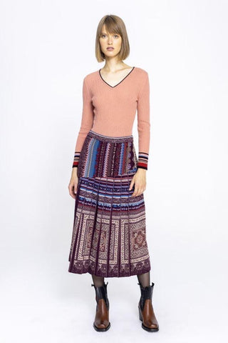 Pleated skirt geometric pattern brown/red
